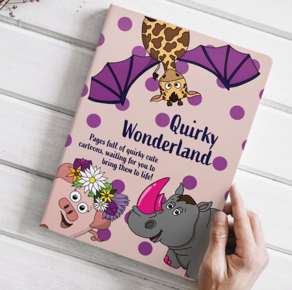 Quirky Wonderland Cartoon Colouring Book - 14 Unique Quirky Colouring Pages