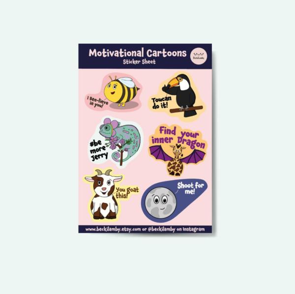 Motivational Cartoon Animals Waterproof Stickers